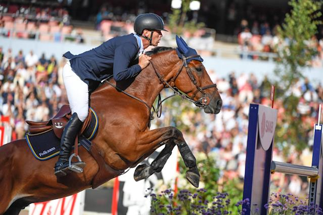 Equestrian - FEI European Championships 2017 - Jumping Individual Final - Ullevi Stadium, Gothenburg, Sweden - August 27, 2017 - Peder Fredricson of Sweden on his horse H&M All In jumps. TT News Agency/Pontus Lundahl via REUTERS ATTENTION EDITORS - THIS IMAGE WAS PROVIDED BY A THIRD PARTY. SWEDEN OUT. NO COMMERCIAL OR EDITORIAL SALES IN SWEDEN