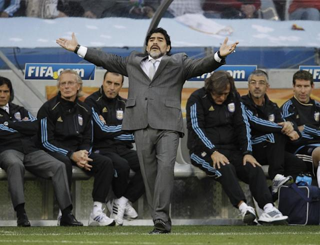 FILE - The July 3, 2010 file photo shows Argentina head coach Diego Maradona during the World Cup quarterfinal soccer match between Argentina and Germany at the Green Point stadium in Cape Town, South Africa. On Sunday, July 13, 2014, Germany and Argentina will face each other again in the final of the 2014 soccer World Cup. (AP Photo/Gero Breloer)