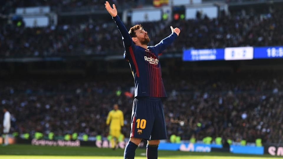 Lionel Messi festeja en el Bernabéu | Denis Doyle/Getty Images