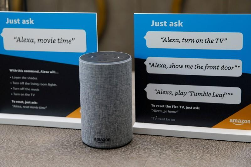 FILE PHOTO: Prompts on how to use Amazon's Alexa personal assistant are seen in an Amazon 'experience centre' in Vallejo