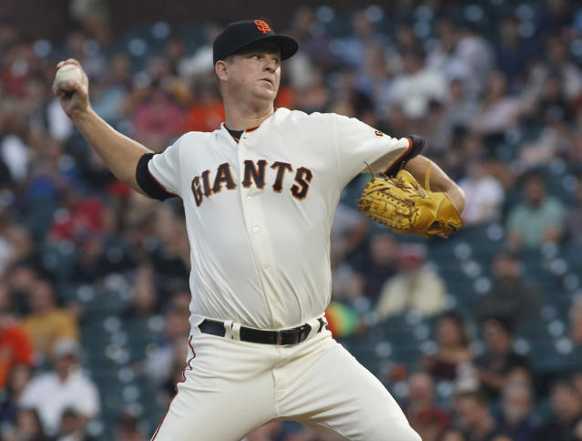 Matt Cain will hang up his cleats after Saturday's start. (AP Photo/George Nikitin)