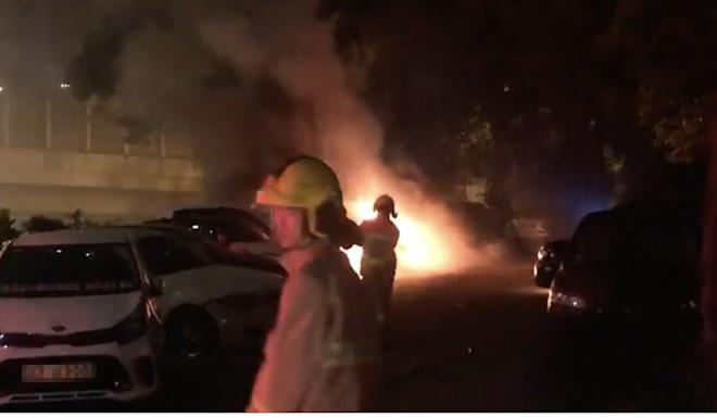 Vehicles were torched in a suspected petrol bomb arson attack near Tsuen Wan Police Station. Photo: Facebook