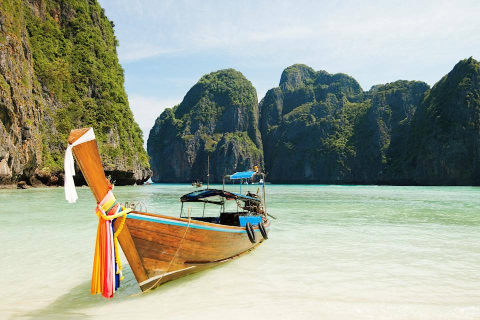 Longtail boats at Koh Phi Phi beach in Thailand