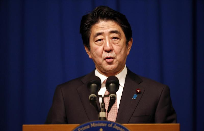 Japanese Prime Minister Shinzo Abe speaks during a press conference in Jerusalem, on January 20, 2015 (AFP Photo/Thomas Coex)