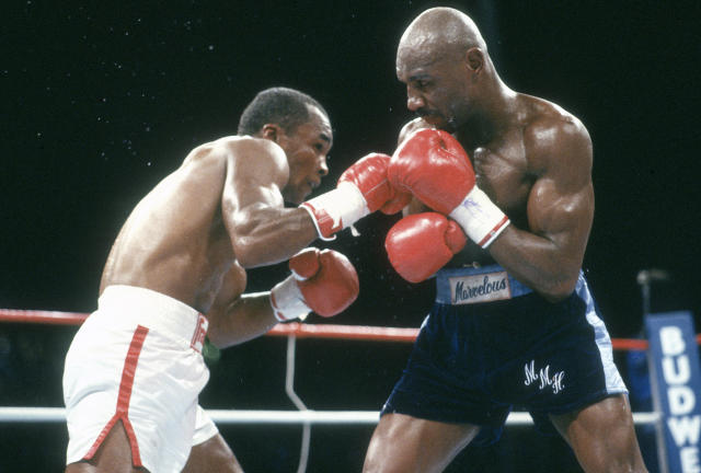 Sugar Ray Leonard and Marvin Hagler fight for the WBC and Ring middleweight titles on April 6, 1987 at Caesars Palace in Las Vegas. Leonard won the fight in 12 rounds on a split decision. (Photo by Focus on Sport/Getty Images)