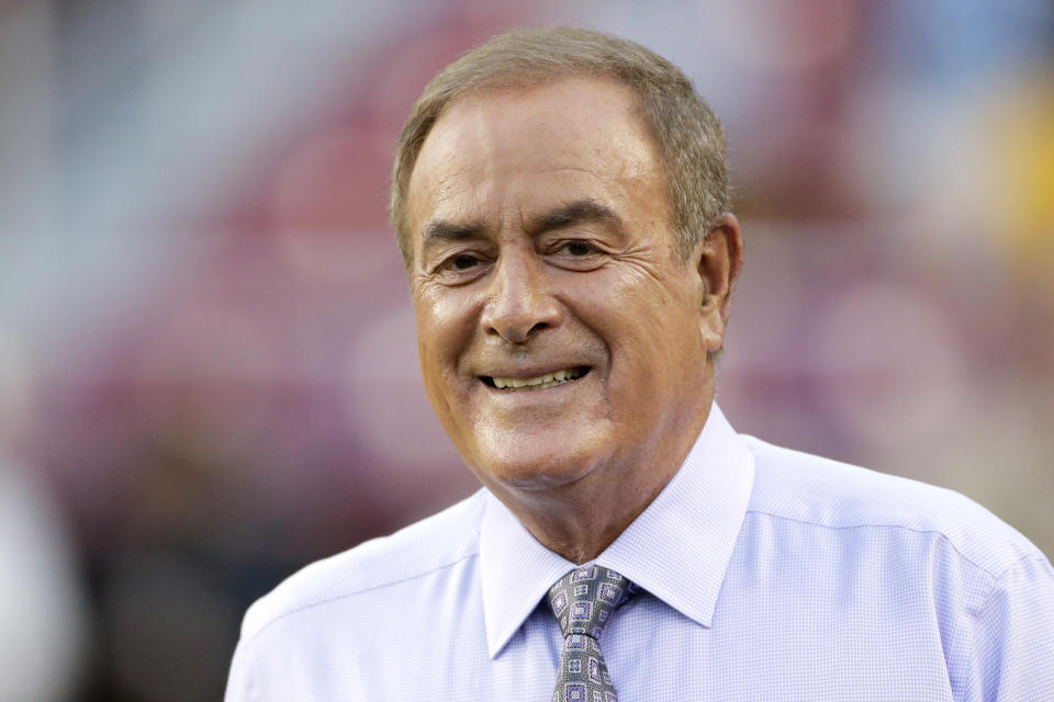 Al Michaels made a Harvey Weinstein joke and it did not go over well (AP Photo/Mark Tenally)