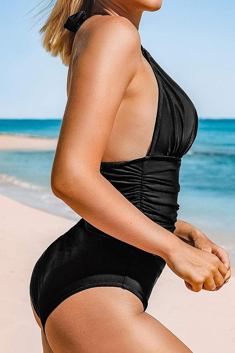 <p>You can never go wrong with a fitted <span>Cupshe One Piece Swimsuit</span> ($29).</p>