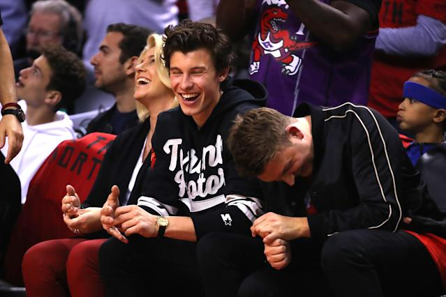 Singer and songwriter Shawn Mendes watches Game Two of the 2019 NBA Finals between the Golden State Warriors and the Toronto Raptors at Scotiabank Arena on June 02, 2019 in Toronto, Canada. (Photo by Gregory Shamus/Getty Images)