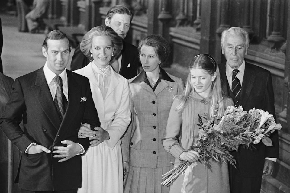 The royal wedding of Prince Michael of Kent and Baroness Christine von Reibnitz at the Town Hall in Vienna, 3rd July 1978. Guests, from left to right, Angus Ogilvy (behind the bride and groom), Princess Anne, Lady Helen Windsor the daughter of the Duke and Duchess of Kent, and Lord Mountbatten of Burma. (Photo by Ian Tyas/Keystone/Getty Images)