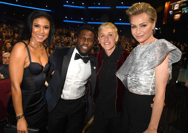 Ellen and Kevin Hart onstage during the People's Choice Awards 2017 at Microsoft Theater on January 18, 2017 in Los Angeles, California.