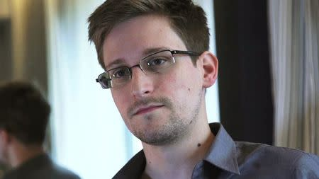 File picture of NSA whistleblower Edward Snowden during an interview with The Guardian in a hotel room in Hong Kong