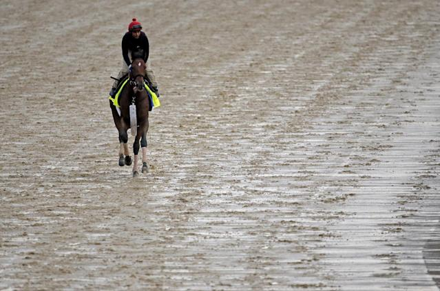 Exercise rider Kelvin Pahal takes Kentucky Derby hopeful Wicked Strong for a morning workout at Churchill Downs Monday, April 28, 2014, in Louisville, Ky. (AP Photo/Charlie Riedel)