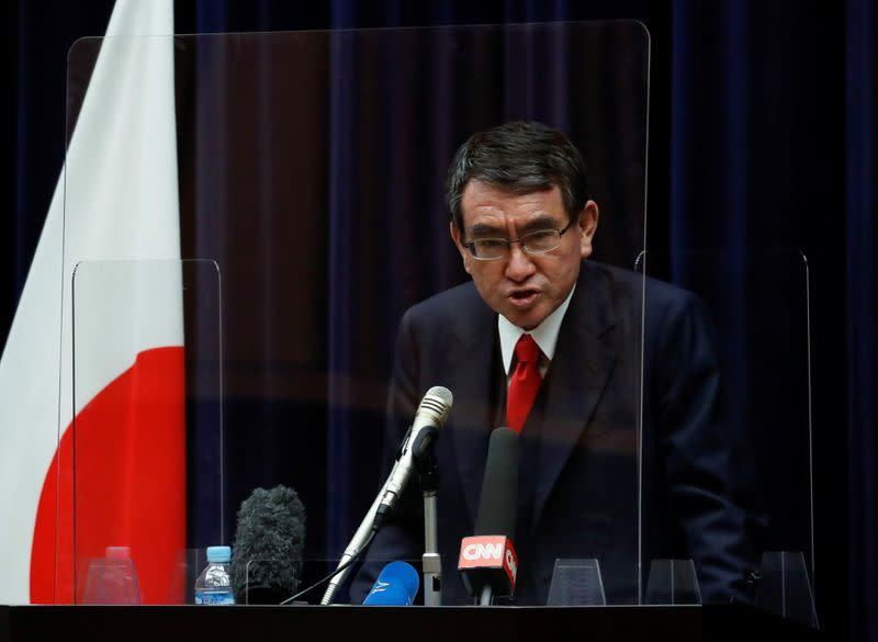 Japanese minister in charge of vaccine roll-out holds news conference on preparations, in Tokyo