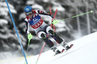 Slovakia's Petra Vlhova speeds down the course during an alpine ski, women's World Cup slalom, in Semmering, Austria, Tuesday, Dec. 29, 2020. (AP Photo/Gabriele Facciotti)
