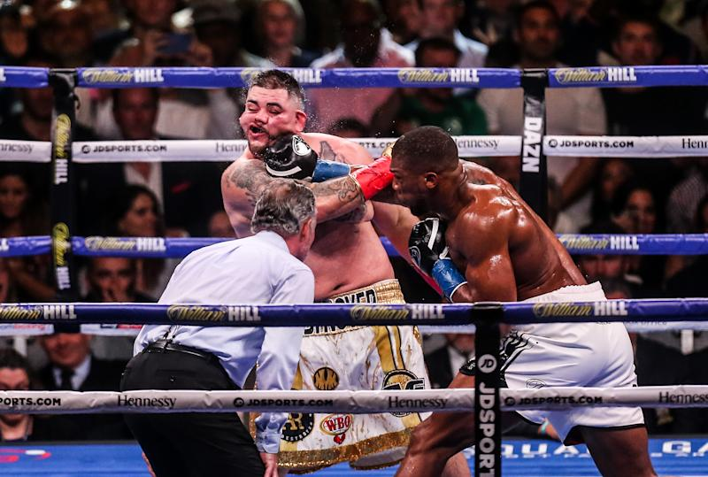 NEW YORK, NEW YORK - JUNE 01: Anthony Joshua(white trunks) and Andy Ruiz Jr fight during their IBF/WBA/WBO World heavyweight championship match at Madison Square Garden on June 1st, 2019 in New York City. (Photo by Anthony Geathers/Getty Images)