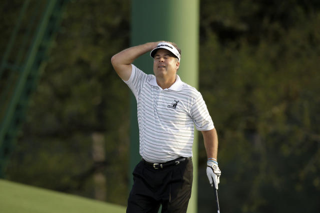 FILE - In this April 12, 2009, file photo, Kenny Perry reacts after missing a putt on the 18th hole at the Masters golf tournament at the Augusta National Golf Club in Augusta, Ga. Perry is among players in their 40s who have come close to winning a major. (AP Photo/Chris O'Meara, File)