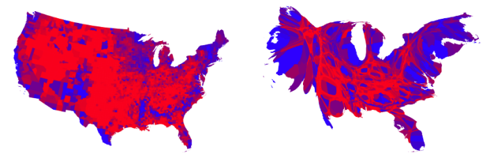 The maps use a color scale of red for 70% Republican and blue for 70% Democratic, but to some extent it obscures the true balance of red and blue.