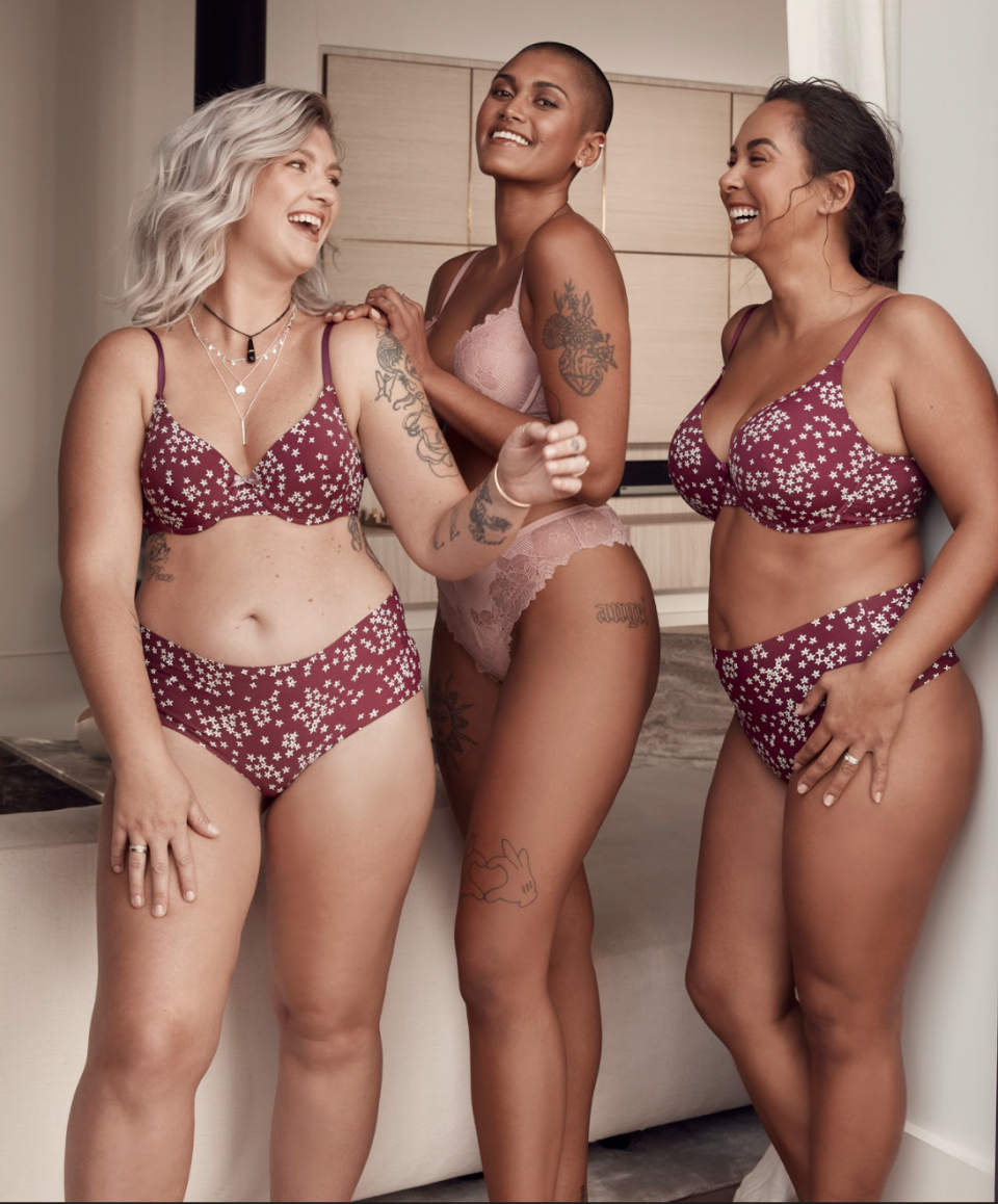 three models of different sizes in lingerie
