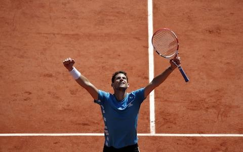 Thiem saw off Djokovic in five sets to reach the final - Credit: Rex