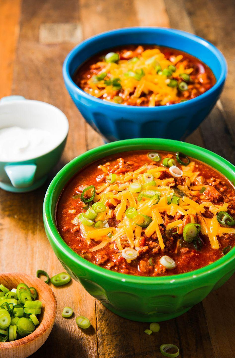 """<p>This is the perfect chili recipe, bursting with beef, green onions, tomato, and tons of sharp cheddar.</p><p>Get the recipe from <a href=""""https://www.delish.com/cooking/recipe-ideas/a23491158/wendys-copycat-chili-recipe/"""" rel=""""nofollow noopener"""" target=""""_blank"""" data-ylk=""""slk:Delish"""" class=""""link rapid-noclick-resp"""">Delish</a>. </p>"""