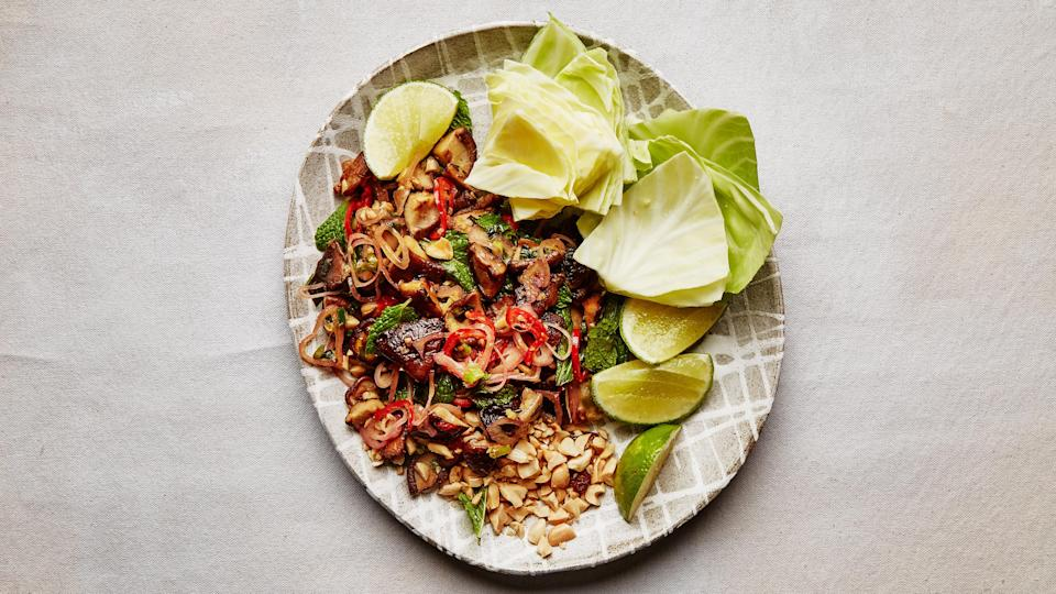 "<a href=""https://www.bonappetit.com/recipe/spicy-mushroom-larb?mbid=synd_yahoo_rss"" rel=""nofollow noopener"" target=""_blank"" data-ylk=""slk:See recipe."" class=""link rapid-noclick-resp"">See recipe.</a>"