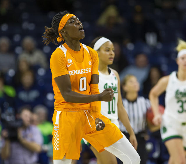 Tennessee's Rennia Davis (0) celebrates during an NCAA college basketball game against Notre Dame Monday, Nov. 11, 2019 at Purcell Pavilion in South Bend, Ind. (Michael Caterina/South Bend Tribune via AP)