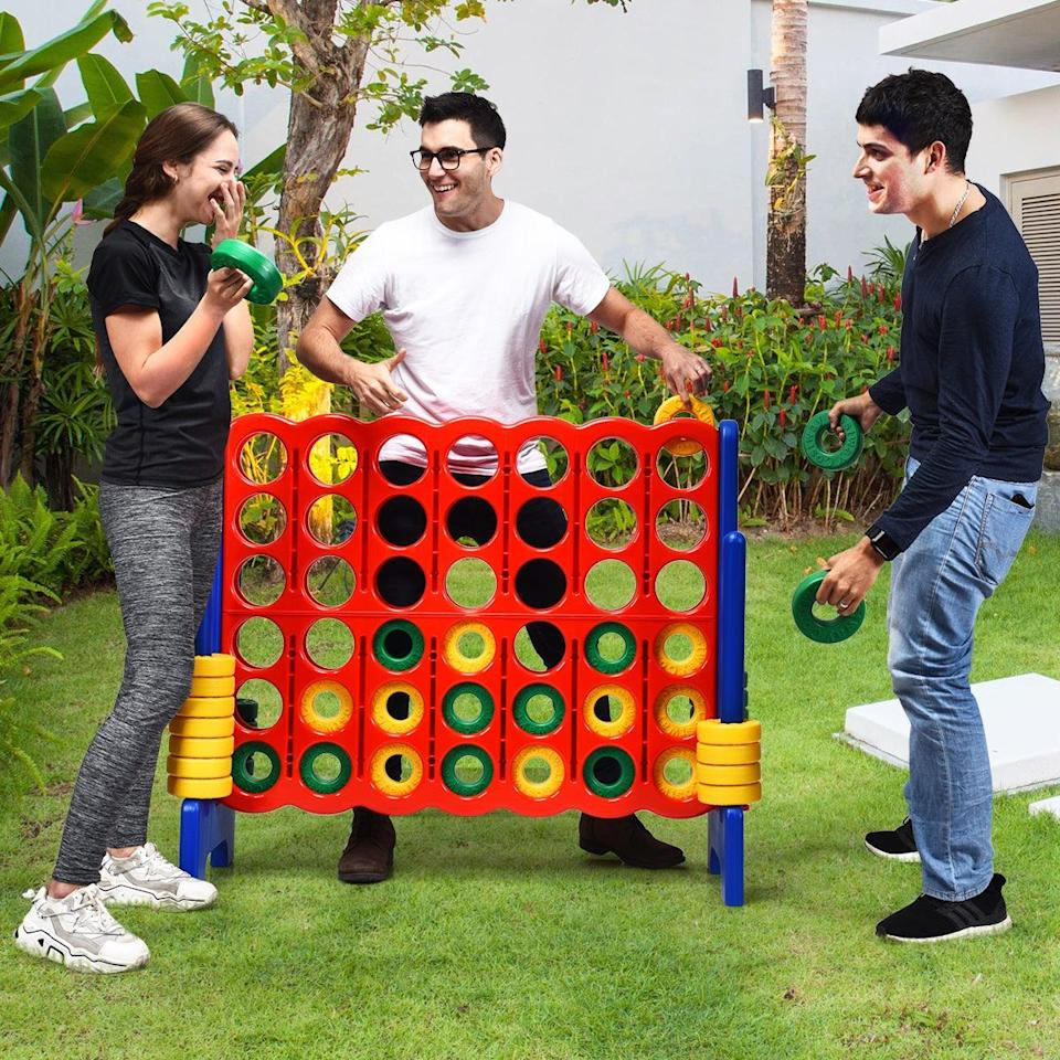 "<h3><a href=""https://www.walmart.com/ip/Costway-Jumbo-4-to-Score-4-in-A-Row-Giant-Game-Set-Kids-Adults-Family-Fun/829813262"" rel=""nofollow noopener"" target=""_blank"" data-ylk=""slk:Costway Jumbo Connect 4"" class=""link rapid-noclick-resp"">Costway Jumbo Connect 4</a></h3> <br>If you and your game crew are a mix of crafty and competitive, consider this childhood classic — but with an adult-human-sized twist. <br><br><strong>Costway</strong> Jumbo 4-to-Score 4 in A Row Giant Game Set Kids Adults, $, available at <a href=""https://go.skimresources.com/?id=30283X879131&url=https%3A%2F%2Fwww.walmart.com%2Fip%2FCostway-Jumbo-4-to-Score-4-in-A-Row-Giant-Game-Set-Kids-Adults-Family-Fun%2F829813262"" rel=""nofollow noopener"" target=""_blank"" data-ylk=""slk:Walmart"" class=""link rapid-noclick-resp"">Walmart</a><br>"