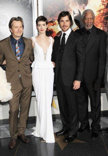 """(L-R) Actors Gary Oldman, Anne Hathaway, Christian Bale and Morgan Freeman attend """"The Dark Knight Rises"""" New York Premiere on July 16 in New York City. With a fixation on random violence, Gotham City dysfunction and the death of a star, the """"Batman"""" movies have long been consumed with tragedy and terror. Now an unfathomable horror is forever linked to the series"""