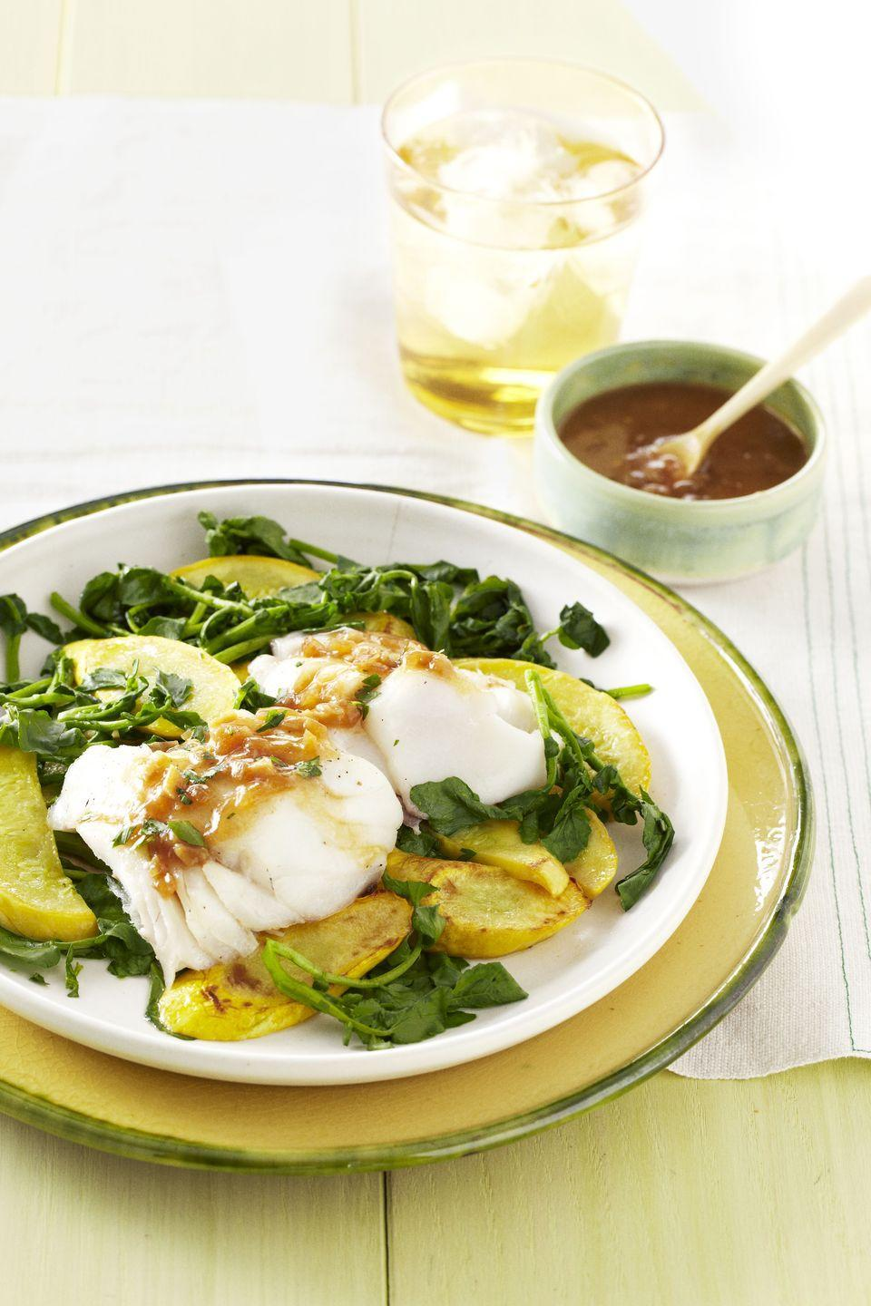 """<p>Composed of ginger, soy, vinegar, shallots, and hot sauce, this tangy sauce will forever change your tastebuds. You'll be spooning the stuff over everything. </p><p><em><a href=""""https://www.goodhousekeeping.com/food-recipes/a10934/ginger-shallot-cod-recipe-ghk0511/"""" rel=""""nofollow noopener"""" target=""""_blank"""" data-ylk=""""slk:Get the recipe for Ginger-Shallot Cod »"""" class=""""link rapid-noclick-resp"""">Get the recipe for Ginger-Shallot Cod »</a></em> </p>"""