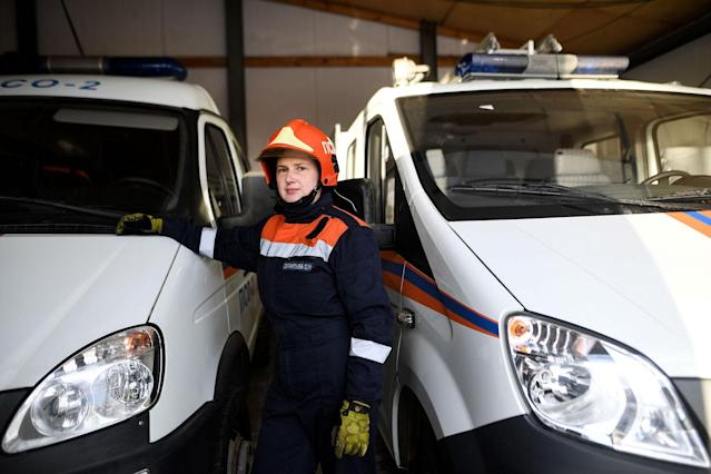<p>Olga Silantyeva, 28, rescuer and driver in a rescue team, posing for a picture in the city of Fryazino, outside Moscow, on March 6, 2018. (Photo: Kirill Kudryavtsev/AFP/Getty Images) </p>