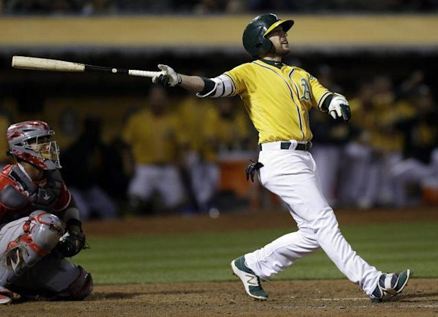 Jed Lowrie's walk-off home run was fueled by candy. (AP)