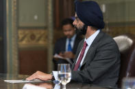 Ajay Banga, chairman of Mastercard, listens during a meeting with Vice President Kamala Harris and business CEO's about economic development in the Northern Triangle, Thursday, May 27, 2021, from Harris' ceremonial office on the White House complex in Washington. (AP Photo/Jacquelyn Martin)