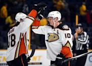 Apr 21, 2016; Nashville, TN, USA; Anaheim Ducks right winger Corey Perry (10) celebrates with Anaheim Ducks left winger Jamie McGinn (88) after a win in game four of the first round of the 2016 Stanley Cup Playoffs against the Nashville Predators at Bridgestone Arena. Christopher Hanewinckel-USA TODAY Sports