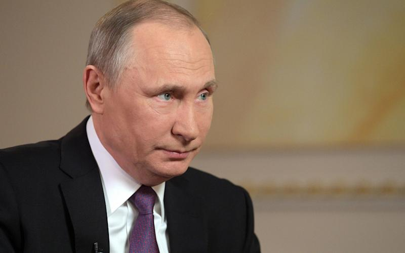 Russian President Vladimir Putin being interviewed by Mir Television and Radio Broadcasting Company in Moscow, Russia, 11 April 2017 - SPUTNIK POOL