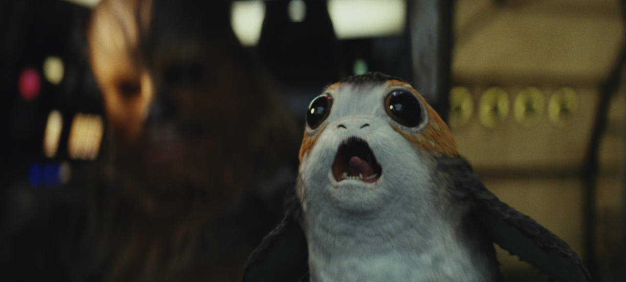 <p>These way-too-adorable space penguins are the most visible species of fauna on Ahch-To, nesting throughout the temple ruins… and even on the Millennium Falcon, to Chewbacca's chagrin. (Photo: Lucasfilm) </p>