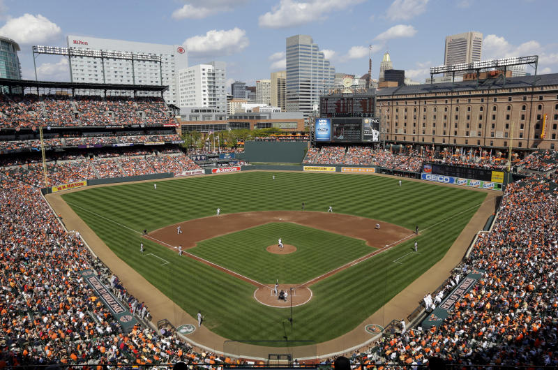 FILE - This Sept. 30, 2012 file photo shows a general view of Oriole Park at Camden Yards during the third inning of a baseball game between the Baltimore Orioles and the Boston Red Sox in Baltimore. All the baseball teams are based in major U.S. cities and many of the stadiums are situated in bustling downtown areas with engrossing things to do and savory places to eat when you aren't attending a game. These attractions should help the cause of baseball fans trying to recruit a spouse or other traveling teammates who may not appreciate the sublime pleasures of the game. (AP Photo/Patrick Semansky, file)