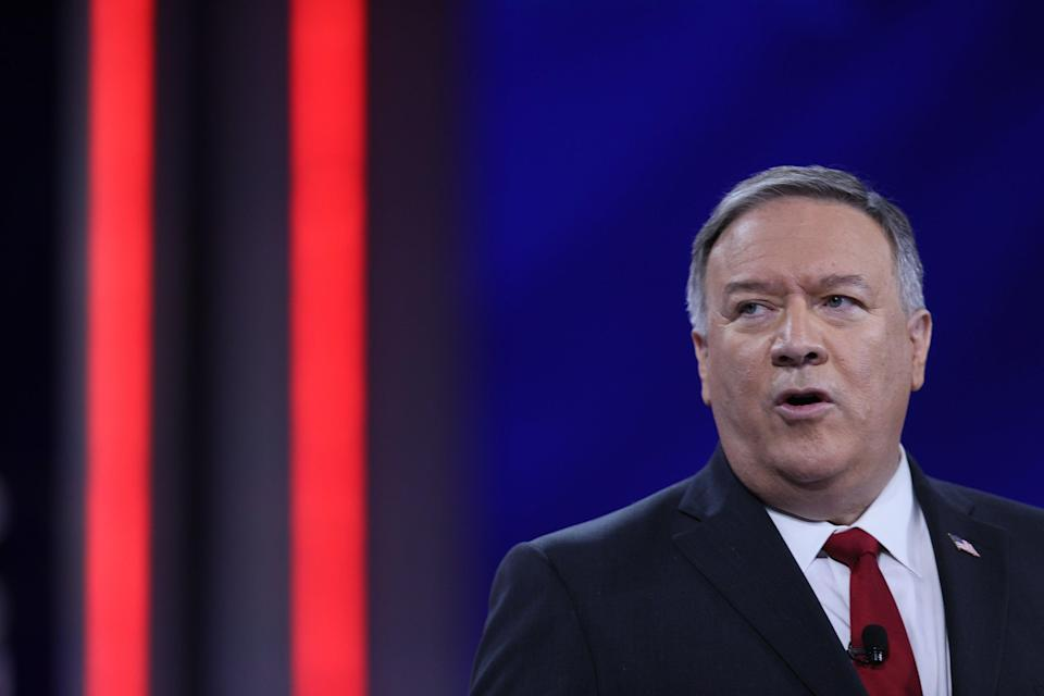 <p>Former U.S. Secretary of State Mike Pompeo addresses CPAC February 27, 2021 in Orlando, Florida. </p> ( (Photo by Joe Raedle/Getty Images))