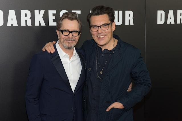 Gary Oldman and Joe Wright at the <em>Darkest Hour</em> premiere in New York. (Photo: Photo By: Jason Smith/Everett Collection)
