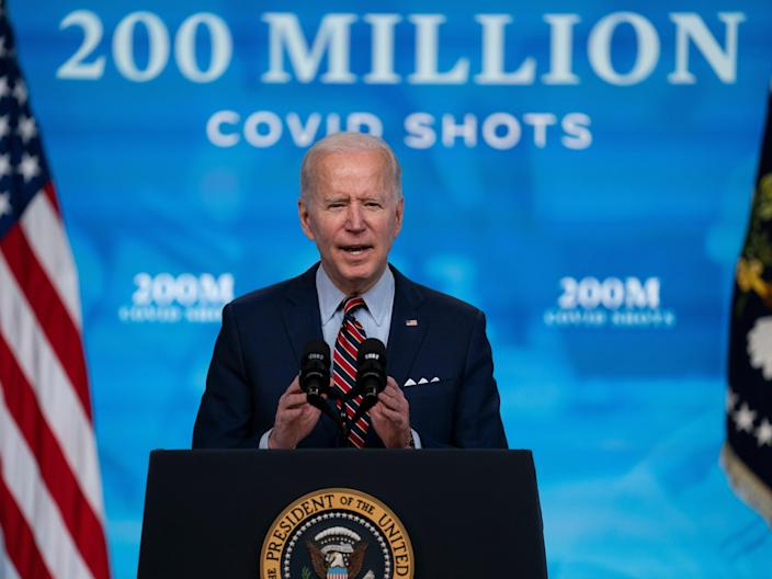 <p>President Joe Biden speaks about COVID-19 vaccinations at the White House, in Washington. Biden spent his first 100 days encouraging Americans to mask up and stay home to slow the spread of Covid-19.</p> ((Associated Press))
