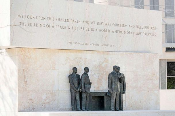 PHOTO: The Dwight D. Eisenhower Memorial, located near the National Mall, south of the National Air and Space Museum in Washington is pictured on Aug. 9, 2020. (Michael Brochstein/Sipa USA via AP)