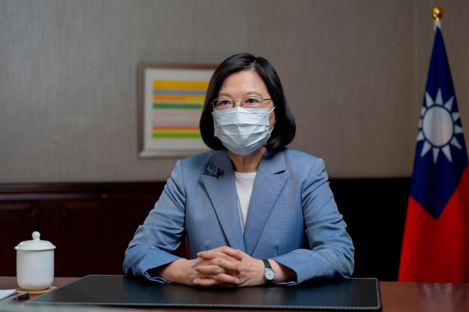 In this photo released by the Taiwan Presidential Office, president Tsai Ing-wen speaks at the presidential office on 20 June, 2021 (AP)