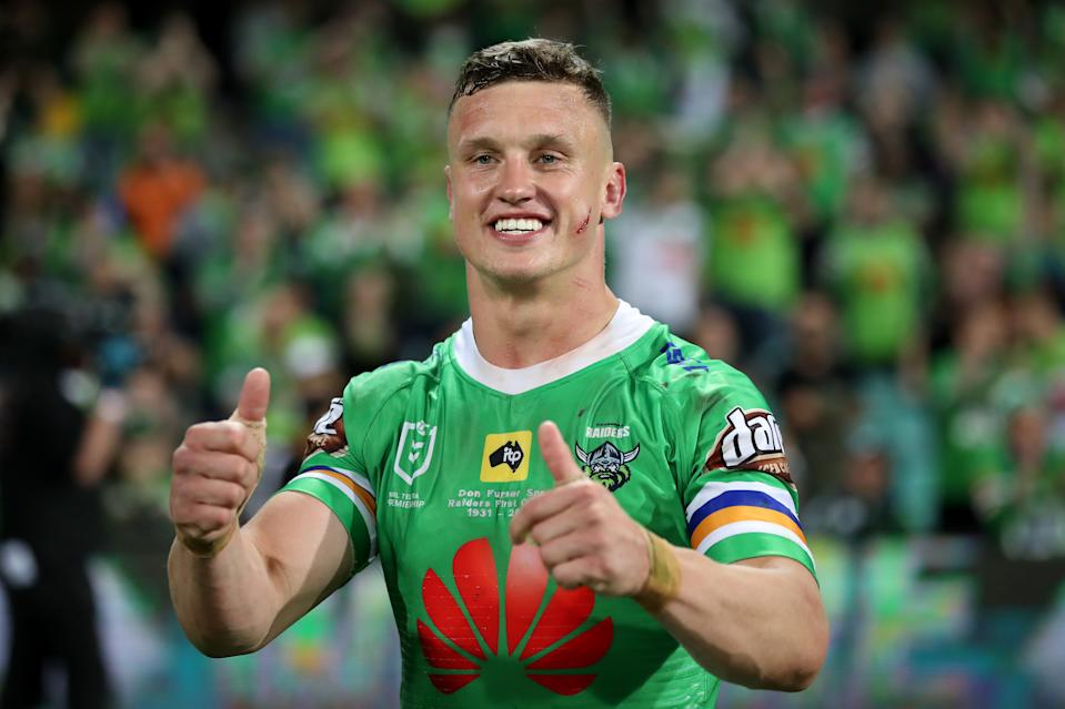 Jack Wighton smiles and gives the thumbs up to the crowd.