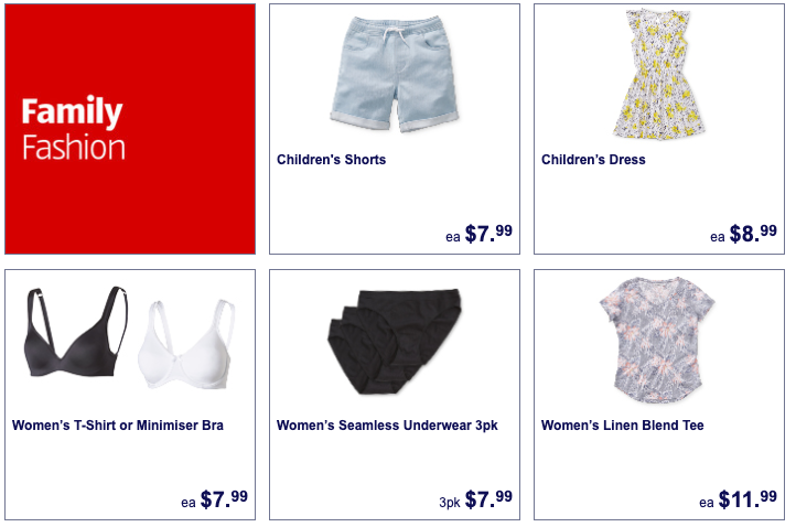 Children's and women's clothing on sale at Aldi.
