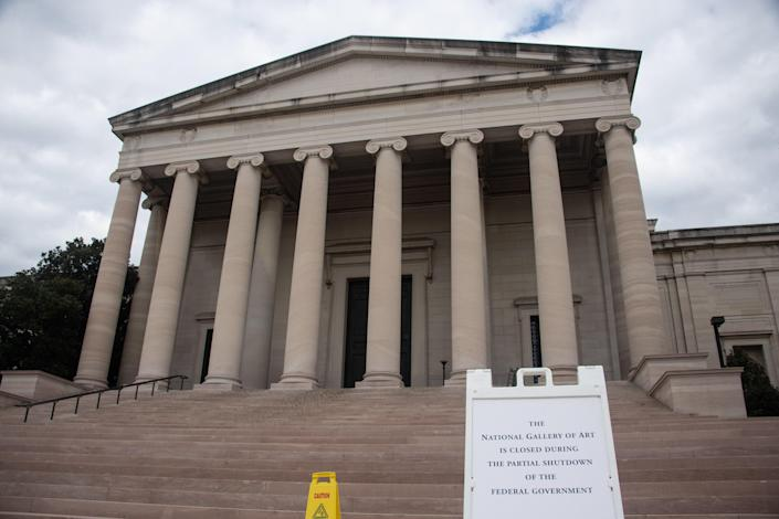 The National Gallery of Art is closed during the federal government partial shutdown. (Photo: Nicholas Kamm/AFP/Getty Images)