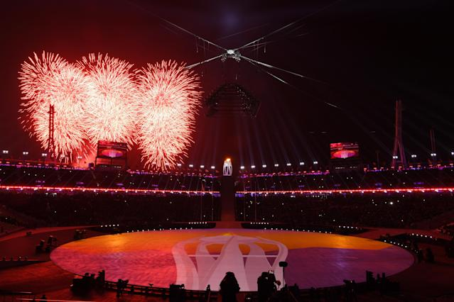 <p>Fireworks explode at the start of the Closing Ceremony of the PyeongChang 2018 Winter Olympic Games at PyeongChang Olympic Stadium on February 25, 2018 in Pyeongchang-gun, South Korea. (Photo by David Ramos/Getty Images) </p>