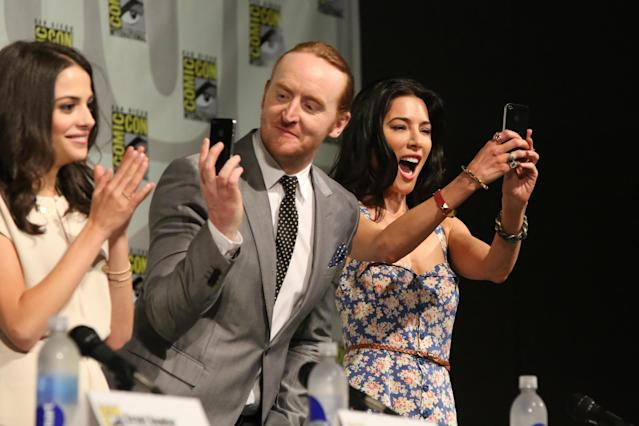 "Stephanie Leonidas, Tony Curran, and Jaime Murray at the ""Defiance"" Panel in San Diego, CA on Friday, July 19, 2013."