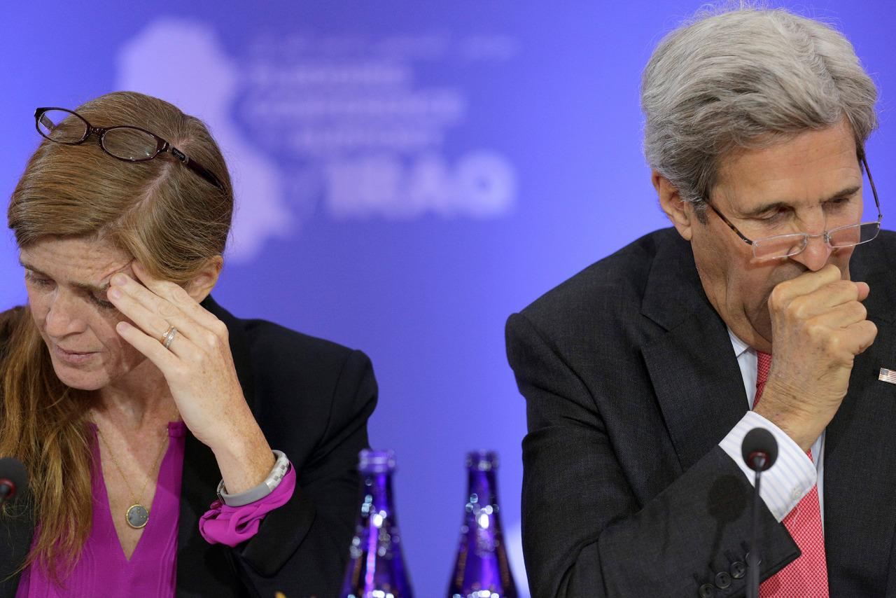 <p>U.S. Ambassador to the United Nations Samantha Power and U.S. Secretary of State John Kerry listen during a Pledging Conference in Support of Iraq, co-hosted by the United States, Canada, Germany, Japan, Kuwait, and The Netherlands at the State Department in Washington, July 20, 2016. (Photo: Joshua Roberts/REUTERS)</p>