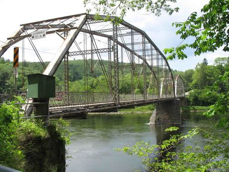 The Pond Eddy Bridge over the Delaware River is seen in an undated handout picture taken in Pond Eddy, New York