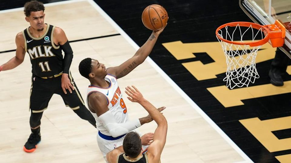 RJ Barrett goes for layup vs. Hawks in Game 4 of First Round