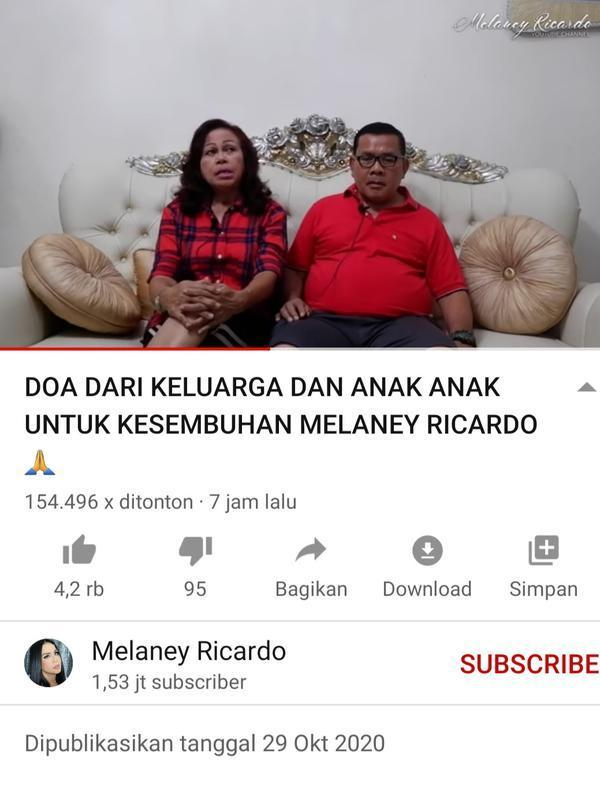 Unggahan Melaney Ricardo. (Foto: YouTube Melaney Ricardo)
